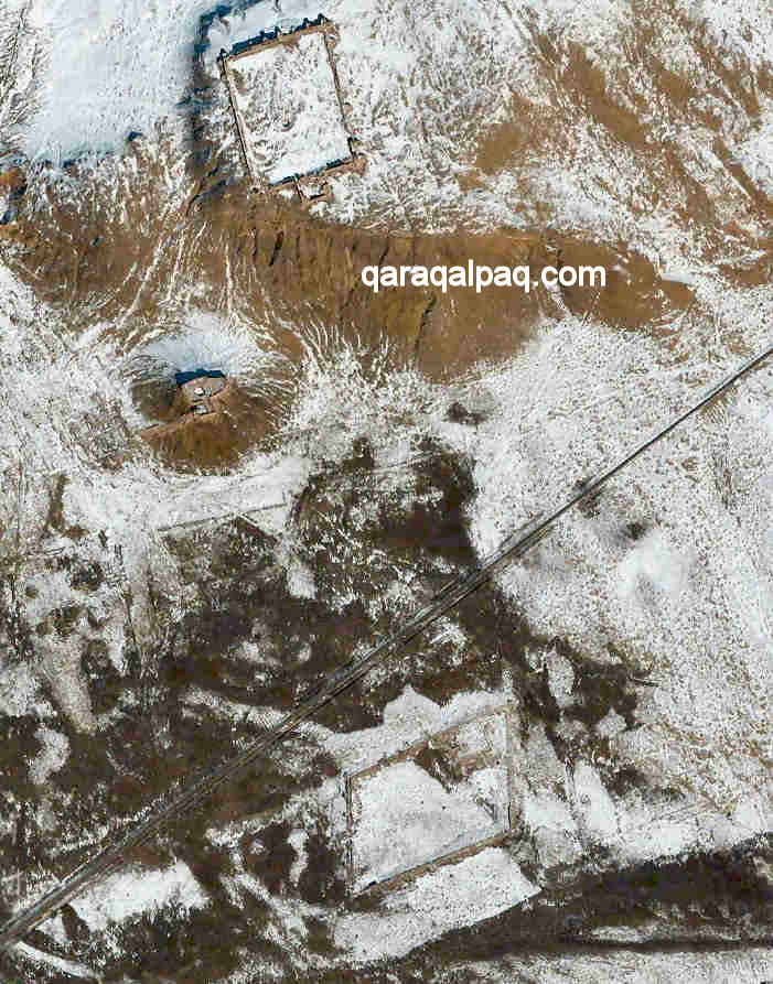 Satellite view of the three Ayaz Qala forts