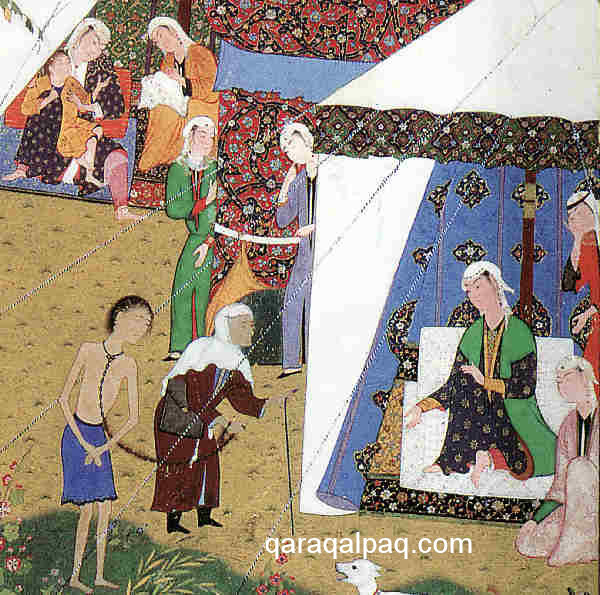 Majnun brought in chains to Layla's tent