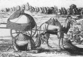 Etching of a Noghay cart tent, 1636