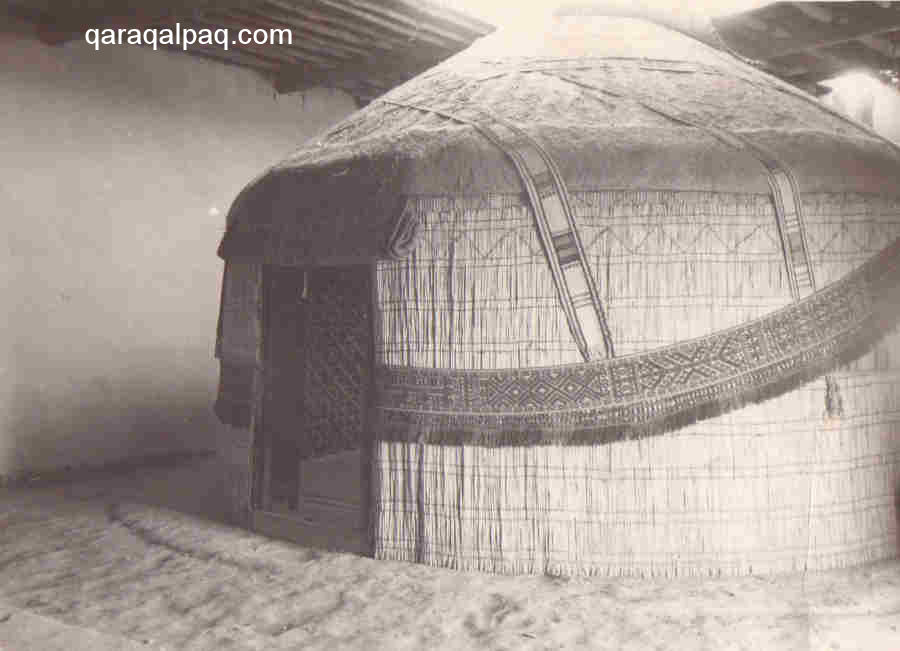 A Qaraqalpaq yurt erected inside the room of a building in the 1930s